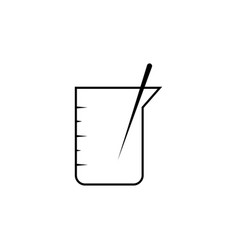 Beaker with stick linear icon vector