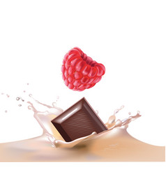 beautiful raspberry and milk vector image vector image