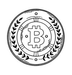 Bitcoin money engraving vector