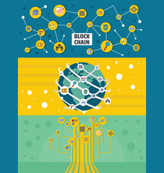 blockchain miner banner horizontal set flat style vector image vector image