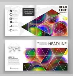 Business templates for square bi fold brochure vector