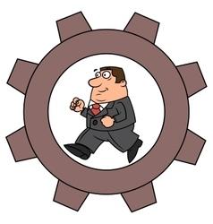 Businessman in cogwheel machine vector image vector image