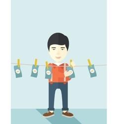 Chinese buisnessman hang his money vector