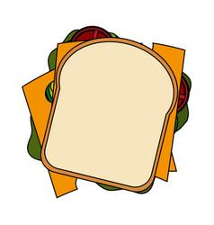 Color image cartoon top view closeup bread vector
