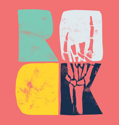 Color rock with a skeleton hand vector