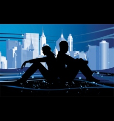 couple in love at night vector image vector image