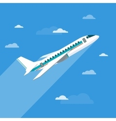 Detailed flying airplane with clouds vector