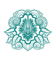 Floral design element in doodle line style vector