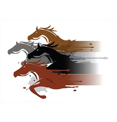 Four running horses vector