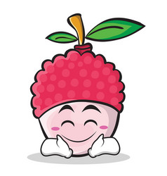Happy face lychee cartoon character style vector