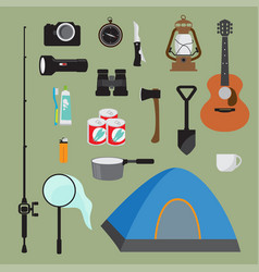 hiking equipment set vector image vector image
