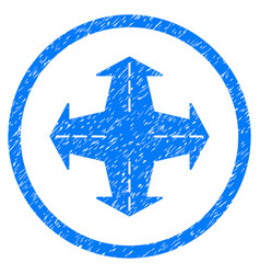 Intersection directions rounded grainy icon vector