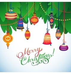 Merry christmas card christmas tree and glass vector