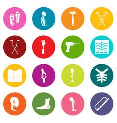 Orthopedics prosthetics icons many colors set vector