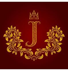 Patterned golden letter J monogram in vintage vector image vector image