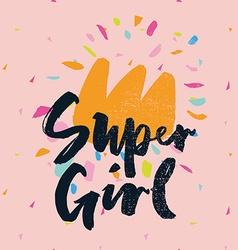 Print for t-shirt super girl hand lettering vector