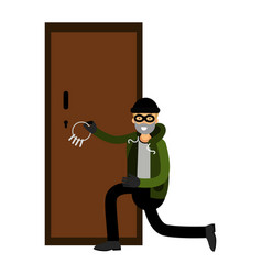 professional burglar character breaks the door vector image vector image