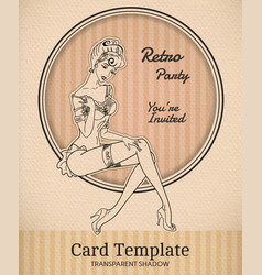 Retro pin-up woman vector