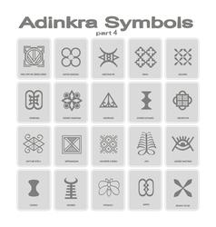 Set of monochrome icons with adinkra symbols vector