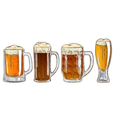 set of mugs of beer vector image vector image