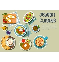 Shabbat day dishes of jewish cuisine flat icon vector