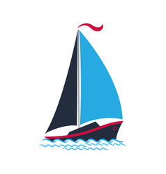 ship with sails on the waves logo for a travel vector image vector image