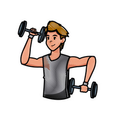 sport man dumbbell strong workout weight draw vector image