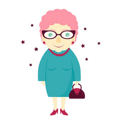 Stylish lovely cute grandmother with a handbag vector