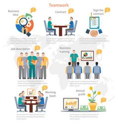 Teamwork infographics template vector