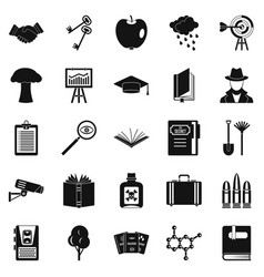 University education icons set simple style vector
