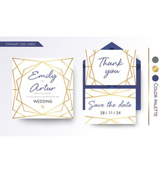 Wedding invitation save the date thank you vector