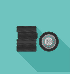 Wheels flat icons vector