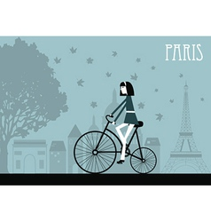 Woman on the bicycle in paris vector