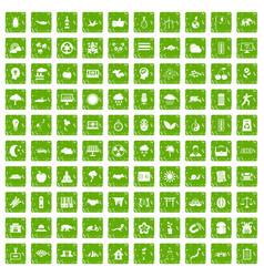 100 harmony icons set grunge green vector image