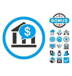 Bank Message Flat Icon with Bonus vector image