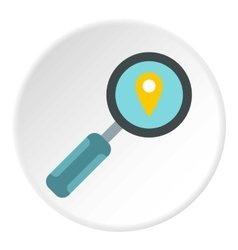 Magnifier with sign gps icon flat style vector