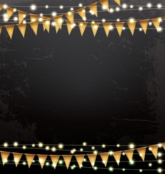 Empty christmas template with neon garlands vector