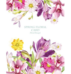 Spring flowers bouquet vertical card background vector