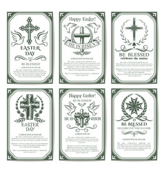 Easter cross religious poster and banner set vector