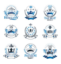 Majestic crowns emblems set heraldic coat of arms vector