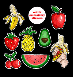 Fruits stickers embroidery vector