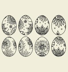 Sketch ornate easter eggs vector