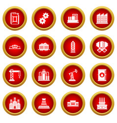 Industry icon red circle set vector