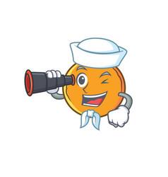Sailor orange fruit cartoon character binocular vector