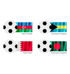Soccer ball with azerbaijan bahamas bahrain flag vector