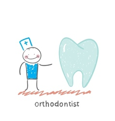 Orthodontist is with great teeth vector