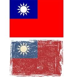Taiwan grunge flag vector image