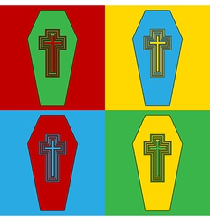 Pop art coffin icons vector