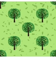 Seamless pattern with oak forest trees vector