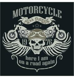 Motorcycle design template logo skull rider - vector